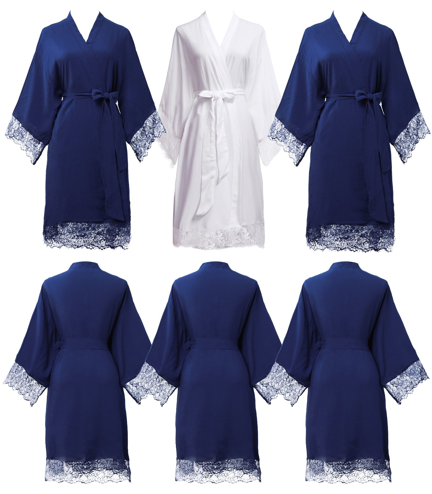 PROGULOVER set of 3-6 Women's Imitation Cotton Wedding Robes for Bride and Bridesmaid Wedding Party Kimono Robes short