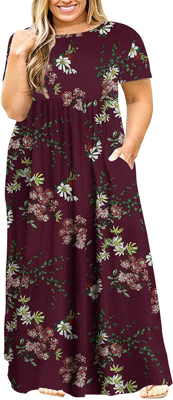Amazon.com: POSESHE Women's Plus Size Tunic Swing T-Shirt Dress ...