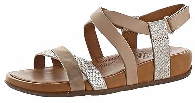 c50d4ca0879 FitFlop Women s Lumy Crisscross Sandals Peachy Silver Snake Sandal 9 ...