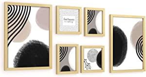 ArtbyHannah Picture Frame 6 Pcs Multi Size Gallery Wall Kit with Photo Decorative Abstract Style Framed Wall Art Decor Prints with Hanging Template