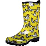 Colorxy Women's Waterproof Garden Rain Boots - Colorful Floral Printed Mid-Calf Garden Shoe Classic Short Wellies…