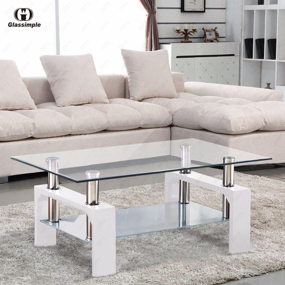 New Rectangular Glass Coffee Table Shelf Chrome White Wood Living Room Furniture