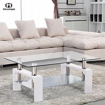 Amazon.com: Tables New Rectangular Glass Coffee Shelf Chrome White Wood  Living Room Furniture: Kitchen U0026 Dining