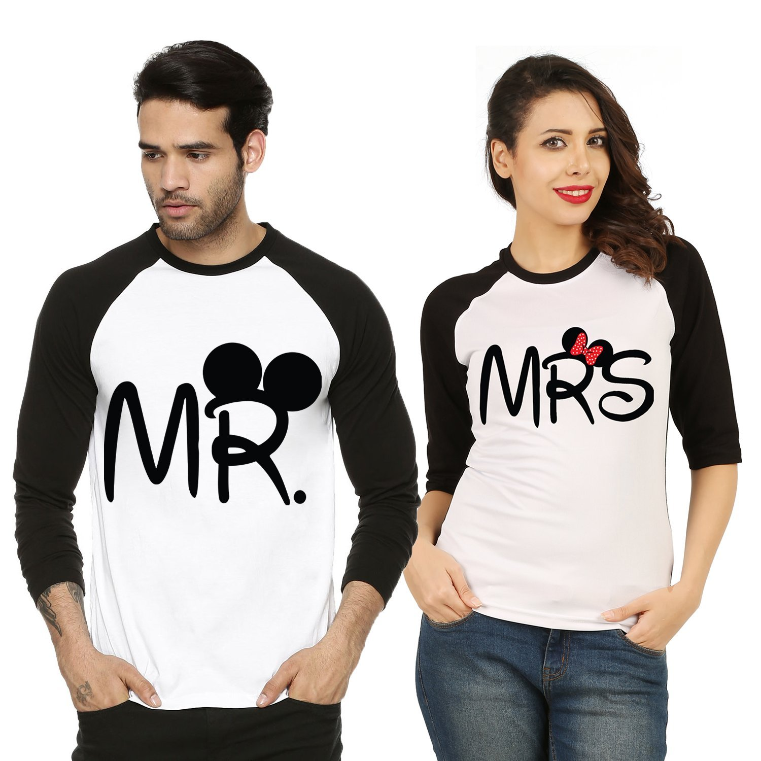 Fanideaz Valentines Gift Raglan Cotton Mr And Mrs Printed Couple T Shirt:  Amazon.in: Clothing U0026 Accessories