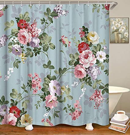 Amazon Livilan Floral Thick Polyester Fabric Shower Curtain Set