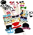Tinksky Photo Booth Props DIY Kit Dress-up Accessories Party Favors for Wedding Party Reunions Birthdays,60 pieces