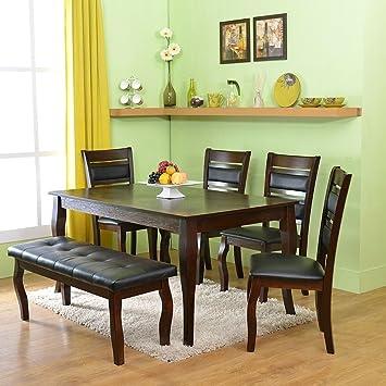 ba24701d00b home by Nilkamal Larissa Six Seater Dining Table Set (Brown)  Amazon ...