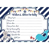 Nautical Wishes And Advice For Baby Cards 50 Count   Baby Shower Game