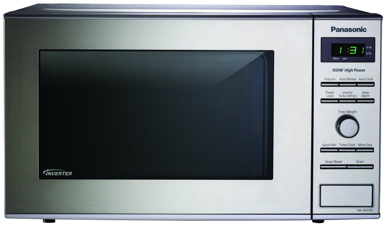 Microwave Oven Compact Countertop Panasonic Electric Stainless Steel 950 Watt 0.8 cu. ft. Inverter Cookware