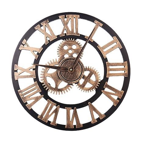 SimpleLife Decoración del Reloj de Pared del Engranaje del Vintage 3D Cocina del hogar Sala de