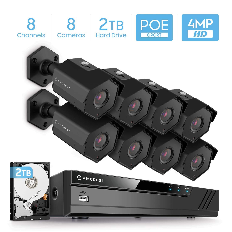 Amcrest 4MP Security Camera System w/ 4K 8CH PoE NVR, (8) x 4-Megapixel IP67 Weatherproof Metal Bullet POE IP Cameras, Pre-Installed 2TB Hard Drive, NV4108E-HS-IP4M-1026EB8-2TB (Black) by Amcrest