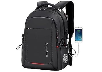 Mochila para portátil de negocios Senderismo Impermeable 15.6, 2.0 USB 40L Mochilas de viaje grandes Antirrobo, mochila de escuela secundaria en tamaño 17 ...