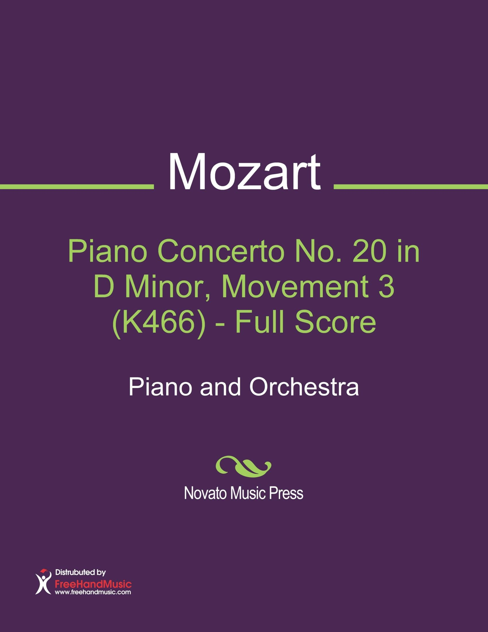 Download Piano Concerto No. 20 in D Minor, Movement 3 (K466) - Full Score Sheet Music (Piano and Orchestra) pdf epub
