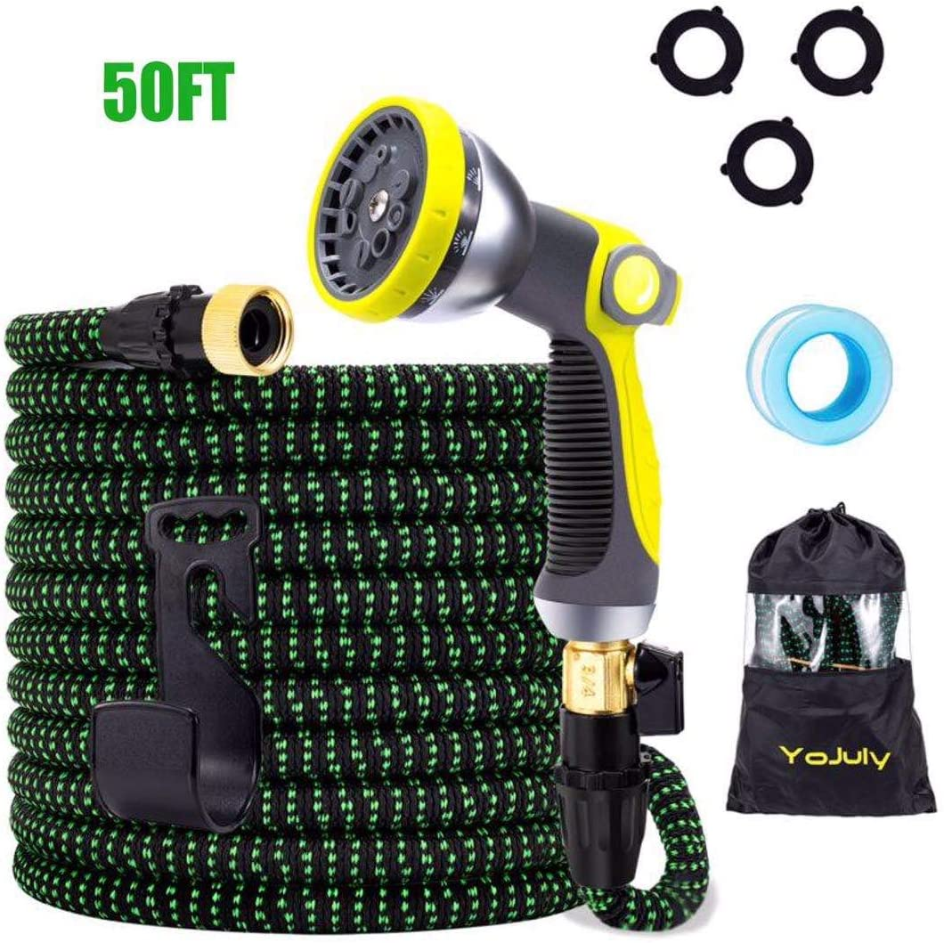 YOJULY Expandable Garden Hose,50 ft Leakproof Lightweight Garden Water Hose -with 10 Function Spray Nozzle and Durable 3-Layers Latex,Best Choice for Watering and Washing