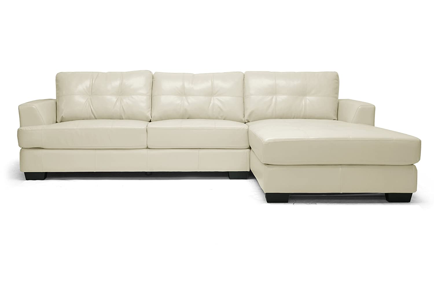 Amazon.com: Baxton Studio Dobson Leather Modern Sectional Sofa, Cream:  Kitchen U0026 Dining