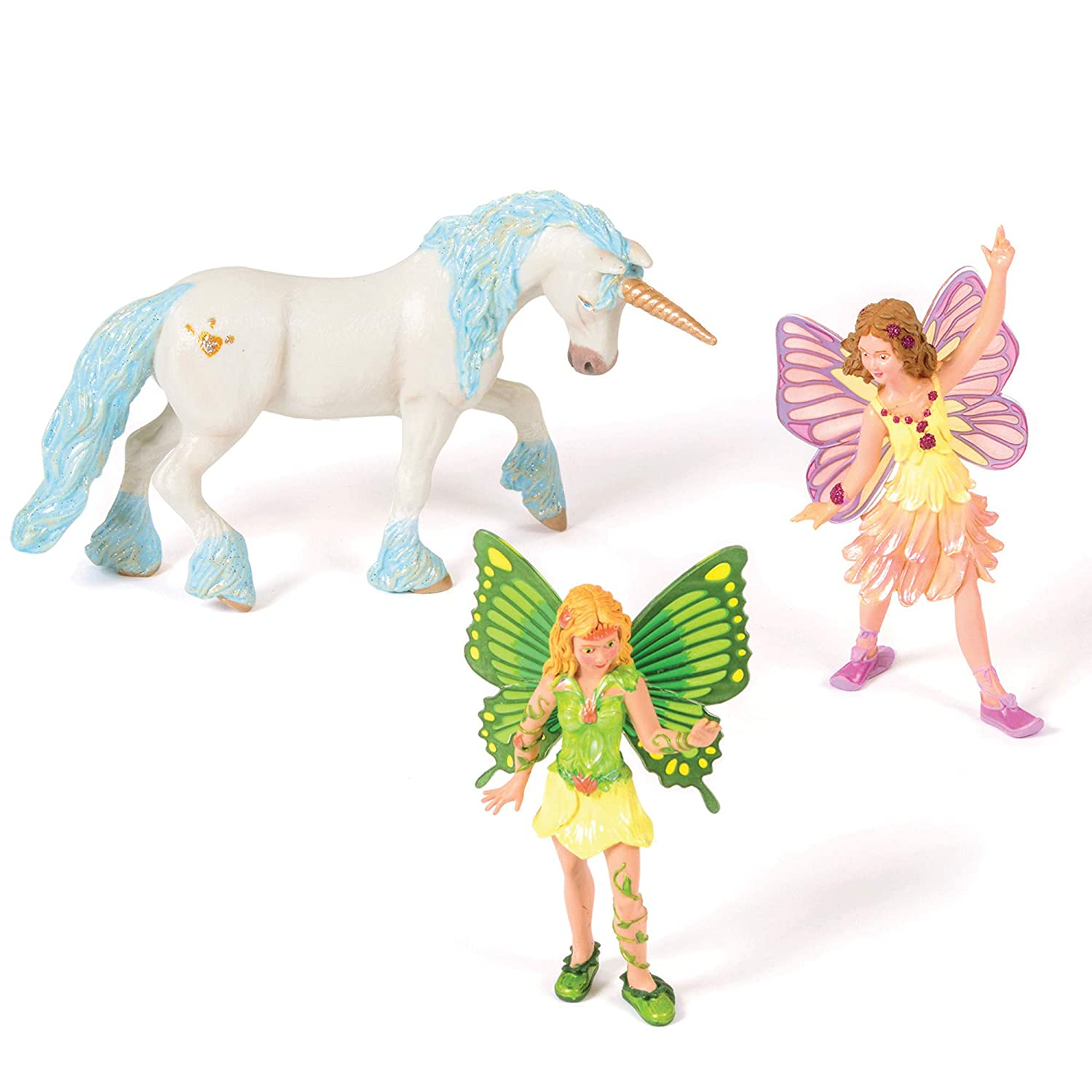 Great for childrens story Set of 2 winged colourful Fairies /& Unicorn play figurines Set to explore magical worlds of fluttering fairies /& a beautiful unicorn language /& small world play