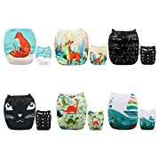ALVABABY Baby Cloth Diapers One Size Adjustable Washable Reusable for Baby Girls and Boys 6 Pack with 12 Inserts 6DM50