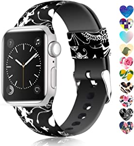Moretek Colorful band Compatible for Apple Watch 38mm 42mm 40mm 44mm,Soft Silicone Sport Replacement Strap for iWatch Series 5 4 3 2 1, Nike+, Edition Women Men (Flower 14, 38/40mm)
