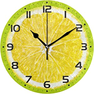 Naanle Citrus Fruit Orange Lemon Lime Slice On Green Round/Square/Diamond Acrylic Wall Clock Oil Painting Home Office School Decorative Creative Dual Use Clock Art