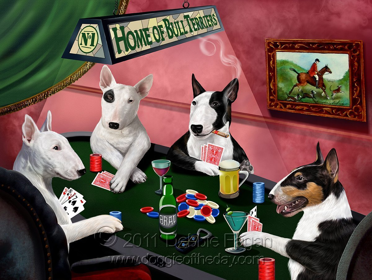 Home of Bull Terriers 4 Dogs Playing Poker Art Portrait Print Woven Throw Sherpa Plush Fleece Blanket (50x60 Plush)
