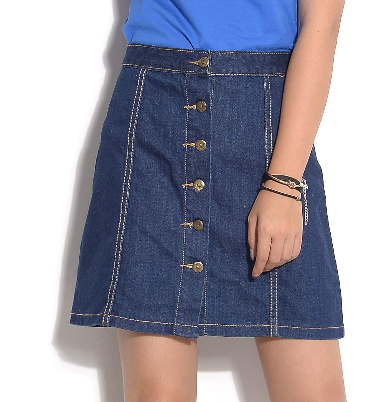 19bf183a6210 Button Front A Line Denim Skirt