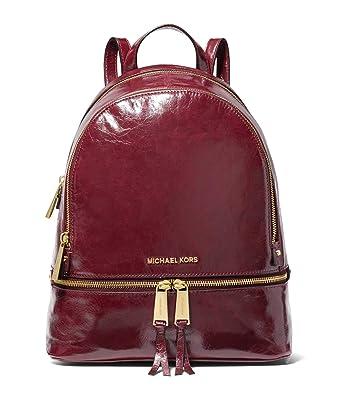 04fb33e228e8 Amazon.com: Michael Kors Rhea Medium Leather Backpack (Oxblood Calf):  Clothing