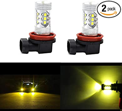 2 Pieces H4 100W 4300K Yellow LED Projector Foglight Daytime Driving