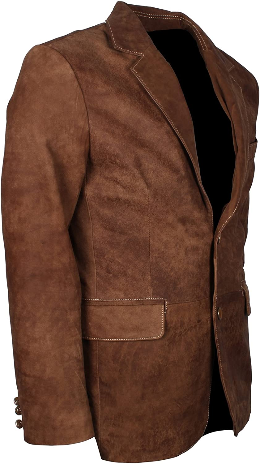 Mens Brown Suede Leather Casual Blazer Coat in