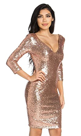 SOHO GLAM Plunging Sequin Midi Dress In Rose Gold