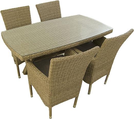 Conjunto Muebles jardín, Mesa 140x80 cm y 4 sillones apilables ...