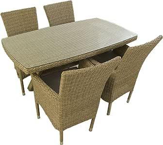 Conjunto Muebles jardín, Mesa 140x80 cm y 4 sillones apilables, Aluminio y rattán sintético Plano Color Natural, 4 plazas, Cristal Templado 5 mm: Amazon.es: Jardín