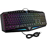 VicTsing Rainbow LED Backlit Gaming Keyboard Wired, Anti-ghosting and Spill-Resistant Keyboard, Ideal for Gaming and Typing