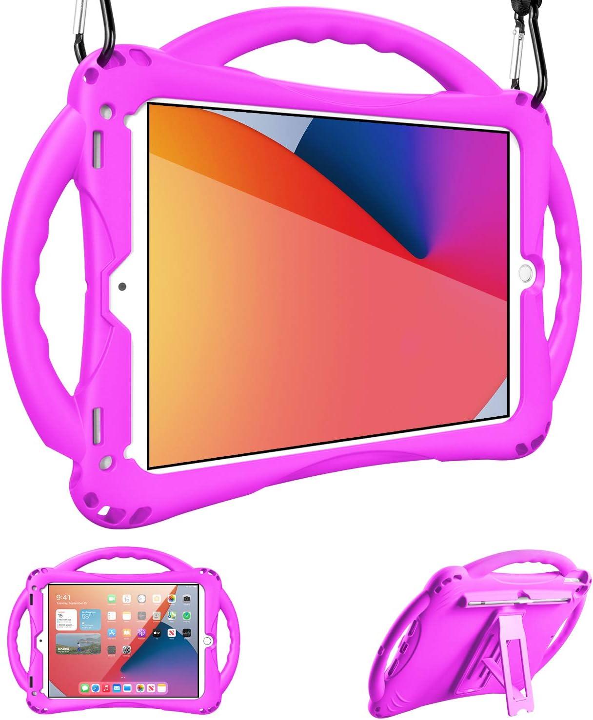 Adocham Kids case for iPad 8th & 7th Gen 10.2 (2020) iPad Air 3rd Gen 10.5 (2019)/ iPad Pro 10.5(2017), Premium Food-Grade Silicone Lightweight Shock Proof Handle Stand Kids Friendly Cover (Purple)