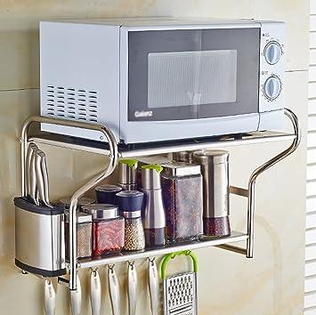 Kitchen furniture Muebles de Cocina 304 Acero Inoxidable Microondas Racks de Pared Racks de Cocina Horno Racks de Almacenamiento de 2 Pisos ...