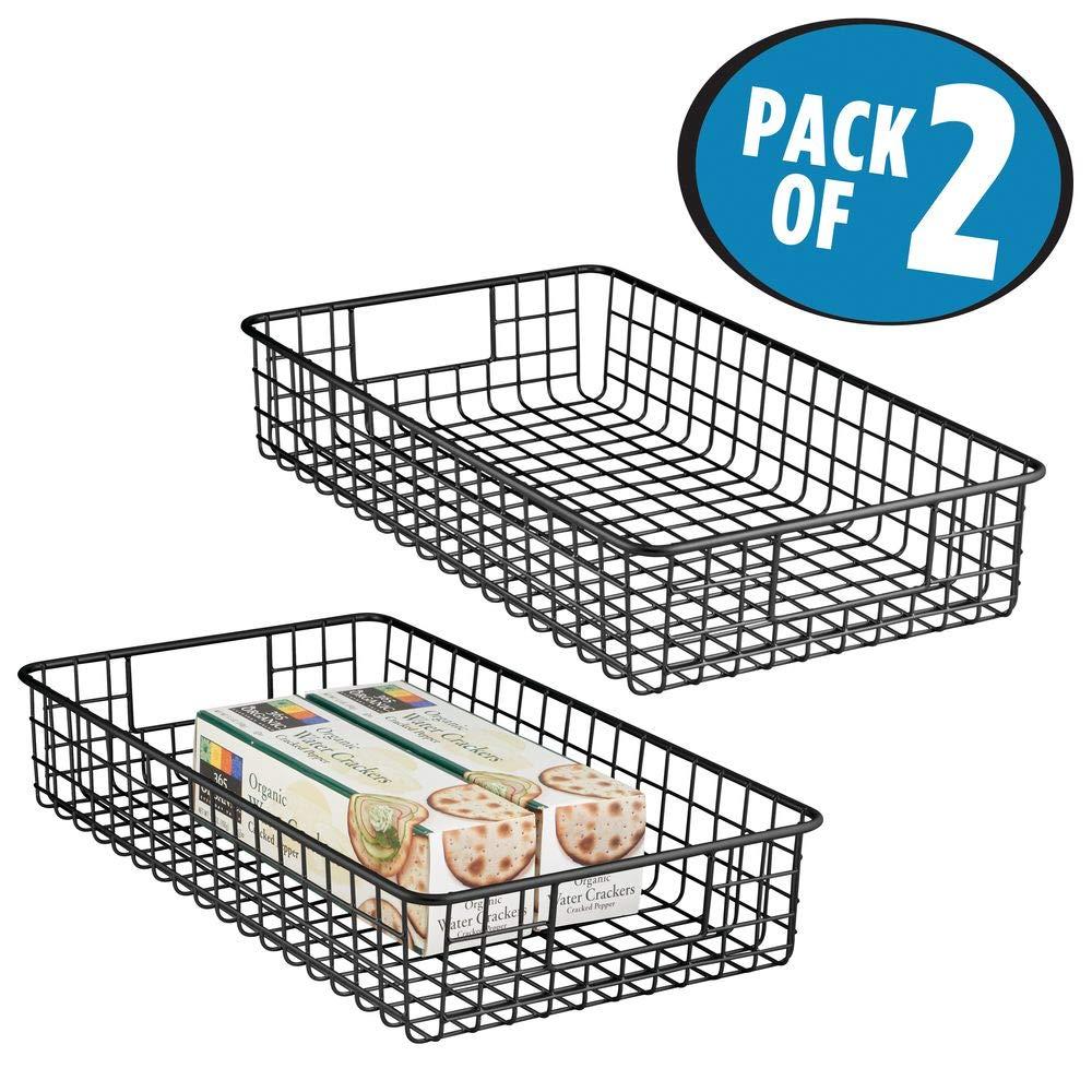 cocina mDesign Juego de 2 canastos de alambre fabricados en metal despensa Ideal como caja organizadora para el armario Pr/áctica cesta de almacenaje multiusos para encimera negro mate etc