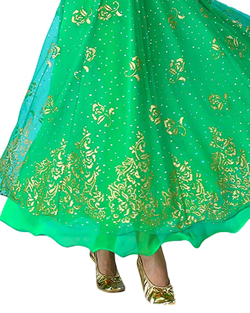 Grouptap Indien Bollywood Manches Longues Anarkali Lehenga Choli Saree Robe Bleu//Rouge//Rose//Vert Arabian Princesse Danse du Ventre Jupe Costumes Costume