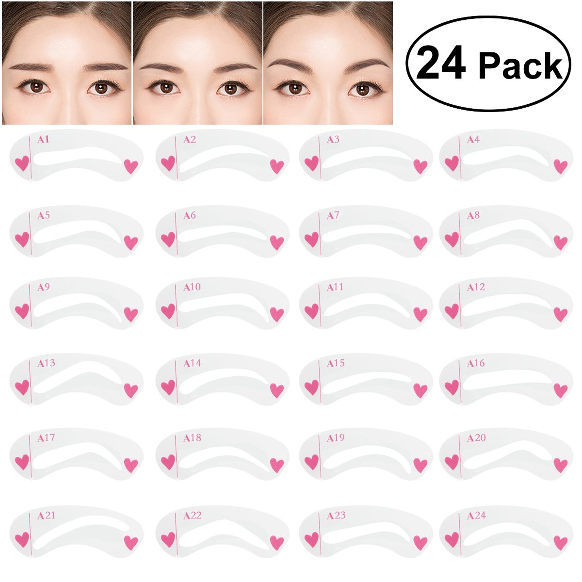 Amazon 24pcs 6 Sets Eyebrow Stencils Eye Brow Grooming Shaping