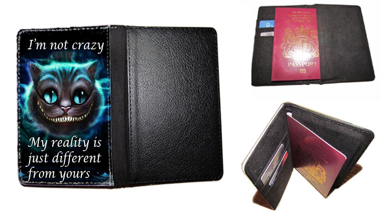passport cover Ich Bin Nicht verrückt Grinsekatze Alice im Wunderland passt Travel Fall UK Passport Dokument