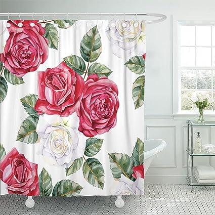 Amazon emvency fabric shower curtain curtains with hooks pink emvency fabric shower curtain curtains with hooks pink flower white and red roses hand watercolor pattern mightylinksfo