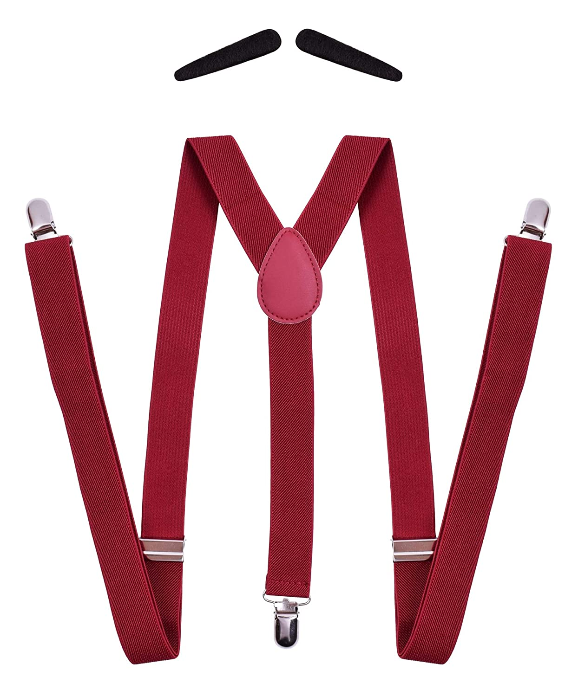 PZLE Men's 1920s Suspenders Adjustable Y Back with Fake Mustache SJF-BraceBeard02-Black