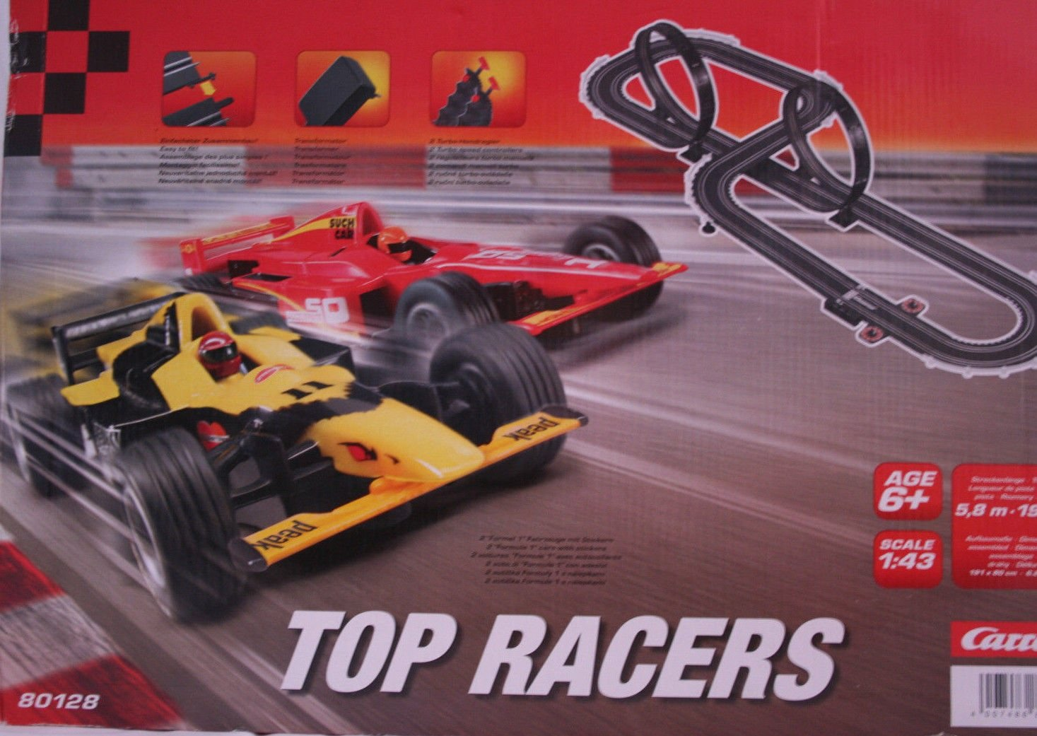 Carrera Racing Set Rennbahn 5,8 m Top Racers 80128