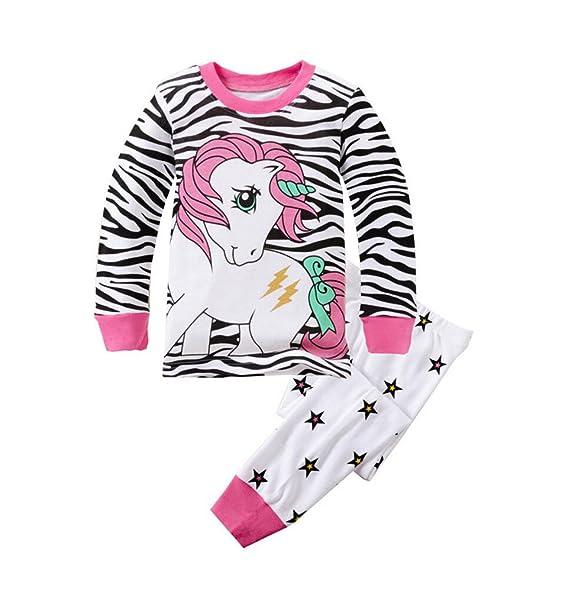Backbuy Primavera Otoño Colección Niñas de Algodón de Manga larga de Unicornio Raya de La Cebra