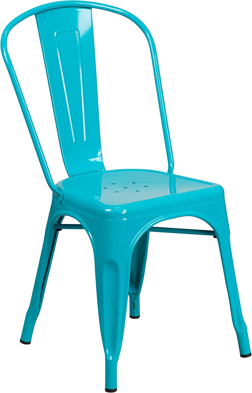 Flash Furniture Commercial Grade Crystal Teal-Blue Metal Indoor-Outdoor Stackable Chair