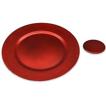 Platos de sitio y posavasos - rojos - Set de 12  Amazon.es  Hogar 83304ae9c9b2