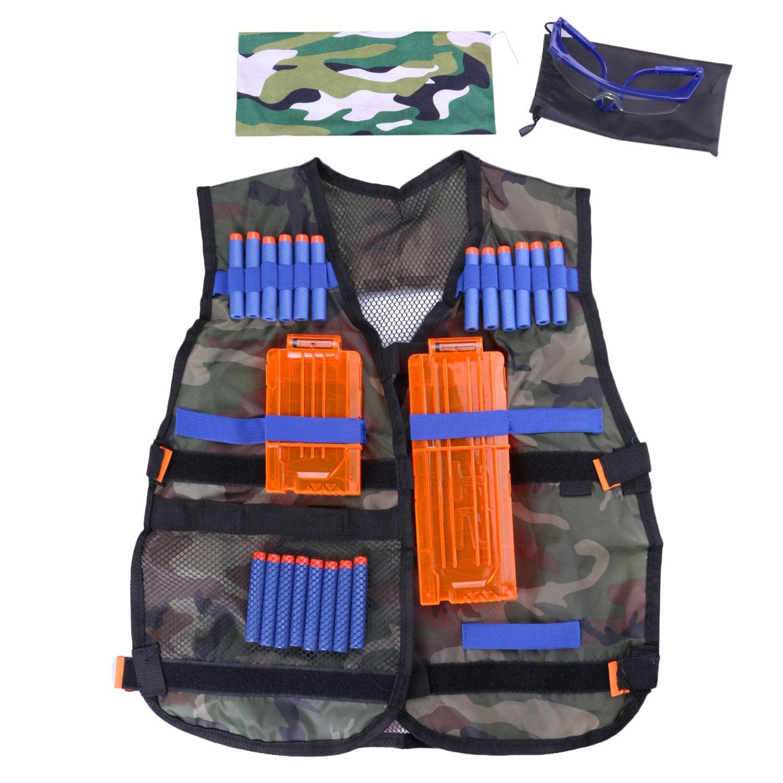Amazon Fody Camo Tactical Vest Kit for Nerf N Strike Elite Series Gun Game 20 Dart Refill Vision Gear 5 Dart Quick Reload Clip 12 Dart Quick