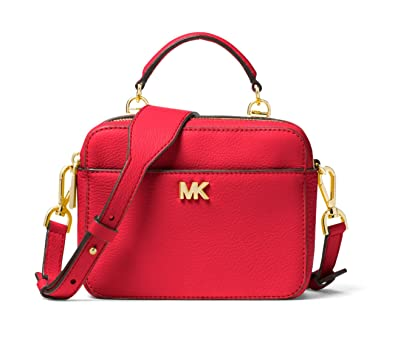 16a04e65c228 MICHAEL MICHAEL KORS Mott Mini Pebbled Leather Crossbody (Bright Red):  Handbags: Amazon.com