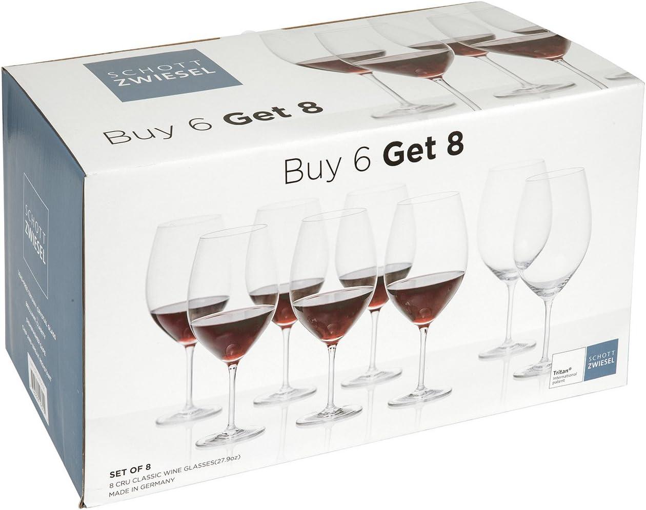 Amazon Com Schott Zwiesel Tritan Crystal Cru Classic 27 9 Ounce Full Red Glass Set Of 8 Wine Glasses