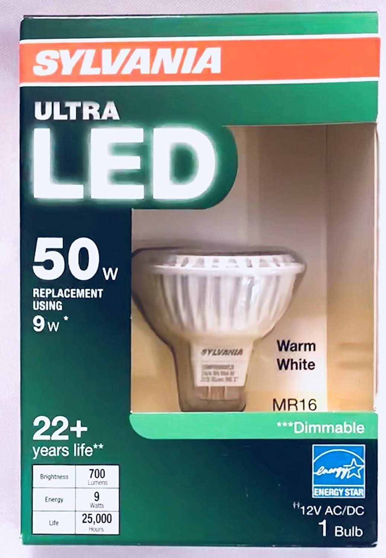 Sylvania Ultra LED Flood Light Bulb 50W 9W Dimmable Warm White MR16 GU5.3 Base