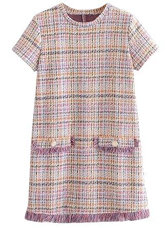 de392f1d0db Doballa Femmes Fringe Hem col Rond Manches Courtes en Tweed Robe Chasuble   Amazon.fr  Vêtements et accessoires