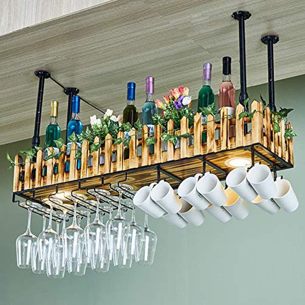 TangMengYun Appeso portabottiglie in Legno Bar Portabottiglie da Parete in Vetro Porta Lampada da Terra in Ferro battuto Dimensione : 60cm
